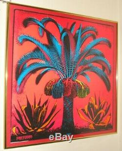 Original Vintage PALM blacklight poster Psychedelic Neon Art Funky Features 1969
