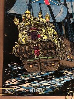 Original Vintage Poster Man O War Ship Boat Vessel Black Light Velvet Pin Up