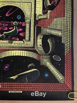 Original Vintage Poster Moonscape 1969 Black light Pin Up Escher Bird Head Shop