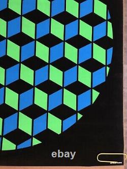 Original Vintage Poster Optical Cubes Black Light Pin Up Abstract Shapes