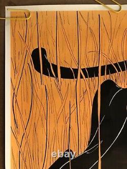 Original Vintage Poster Orange Tiger Black Light Panther Animal Zoo Cartoon