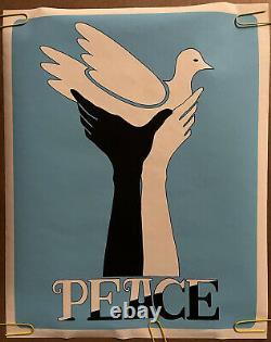 Original Vintage Poster Peace Dove Race Hands 1960s Blacklight Political pinup