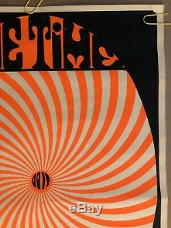 Original Vintage Poster The Time Is Now Black Light Pin Up Psychedelic Trippy