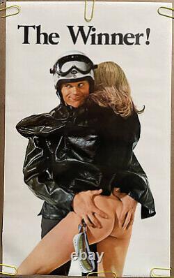 Original Vintage Poster The Winner Motorcycle Race Motocross Man Woman 1970s