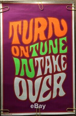 Original Vintage Poster Turn on Tune in Take Over psychedelic blacklight pandora