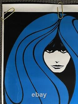 Original Vintage Poster peace woman psychedelic hair blue Blacklight 1960s