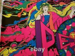 PEACE VINTAGE 1970 BLACKLIGHT PSYCHEDELIC POSTER By SAYLOR -NICE