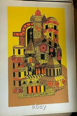 PSYCHEDELIC CASTLE VINTAGE HIPPIE 1970's BLACKLIGHT POSTER By RITA HERMANN NICE