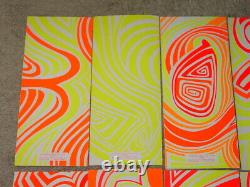 PSYCHEDELIC HIPPIE GREETING CARDS 1967 VINTAGE HAND SCREENED BLACKLIGHT Set/10