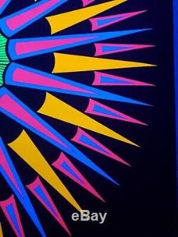 PSYCHEDELIC PEACE EXPLOSION VINTAGE POSTER 1970 PEACE BLACK LIGHT Zadorozny