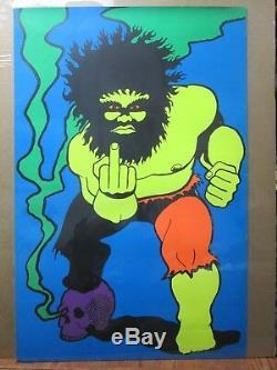 Parody Hulk Fck you Vintage Black Light Poster 1969 Psychedelic skull Inv#G2734