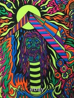 Psychedelic Hippy Vintage Blacklight Poster Original Pin-up 1970's Trippy Retro