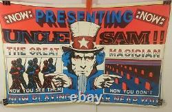 RARE! Vintage Anti War Vietnam Blacklight Poster Uncle Sam The Great Magician