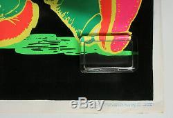 R. CRUMB Keep On Truckin' 1970's VINTAGE Blacklight Velvet POSTER Minty! HIPPIE