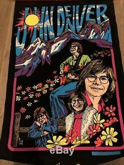 Rare 1970s Blacklight John Denver Felt Poster Rare Ex Shape