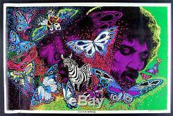 Rare 1972 Jimi Hendrix Blacklight Silkscreen Poster
