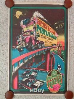 Rare American Marijuana Distributors Black Light Poster The Midnight Rider 1973