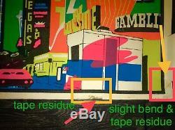 Rare Early 70`s Downtown Las Vegas Nevada Casino Retro Map Black light Poster
