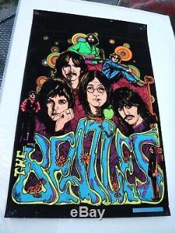 Rare The Beatles 1975 Vintage Original Black Light Music Poster