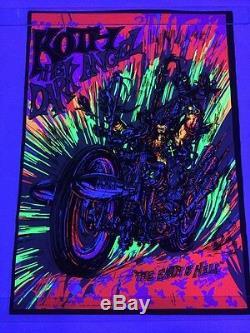 Rare VTG NOS Koth The Dark Angel Motorcycle Blacklight Poster Western Graphics