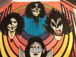 Rare Vintage 1976 Kiss Flocked Blacklight Poster Rock Band M. H. Stein Art