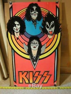 Rare! Vintage KISS 1976 Aucoin, M. H. Stein, flocked blacklight rock band poster