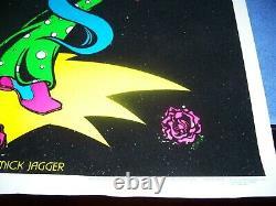 Rare Vintage Mick Jagger Rolling Stones Tongue Velvet Blacklight Poster 35 x 23