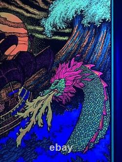 Rare Vintage Western Graphics Sea Monster Attacking Ship Blacklight Poster