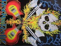 Rock and Roll VINTAGE flocked blacklight poster scorpio press 1985