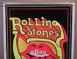 Rolling Stones Original Vintage Blacklight Poster Psychedelic Tongue Pin-up 70s