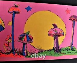 Signed Vintage Earl Newman 1971 Psychedelic Blacklight Handpainted Poster Shroom