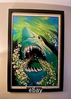 Stunning Original Black Light JAWS Poster Super Shark Velma Print 1975 Very Rare