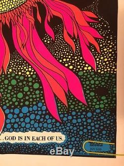 Sun God Original Vintage Blacklight Poster Psychedelic Pin-up Tom Gatz UV 1971