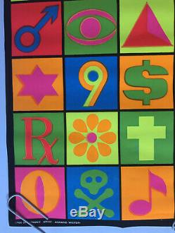 Symbology Original Vintage Blacklight Poster Third Eye 1969 Weston Psychedelic
