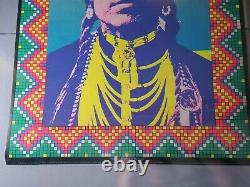 THE AMERICAN INDIAN 1970 VINTAGE BLACKLIGHT NOS POSTER By John Hamersveld -NICE