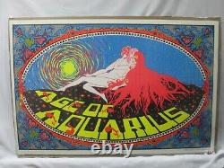 The Age Of Aquarius Black Light Vintage Poster 1970 Psychedelic Cng366