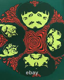 The Beatles Black Light Poster Psychedelic Mandala Miller Sirkia 1967 Original