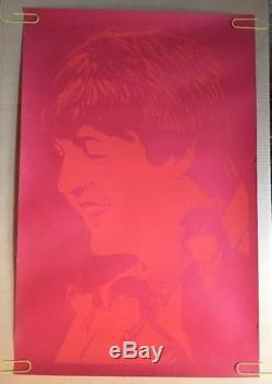 The Beatles Original Poster Vintage Blacklight Pin-up 1960s Silkscreen Retro UV