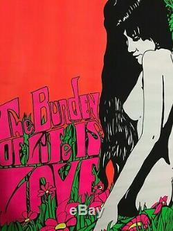 The Burden of Life is Love Black Light Poster 24 1/2 x 35 Vintage 1969 Nude NOS