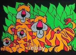 Tigers Original Vintage Blacklight Poster Psychedelic Pin-up Tiger Cubs Animals