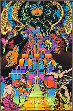 Tower Of Babel Blacklight Poster by Jean Mitchell The Third Eye 1971 Psychedelic