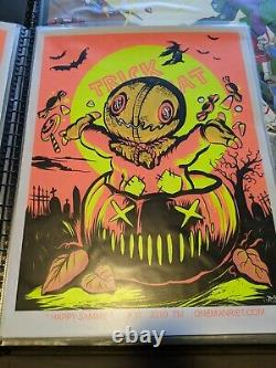 Trick r Treat, Return of the living Dead, and Halloween Myers Blacklight Posters