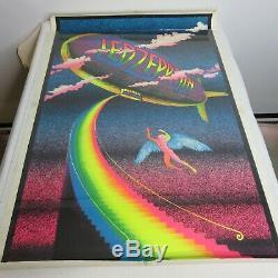 True Vintage Led Zeppelin Stairway To Heaven Black Light Poster Velvet Flocked