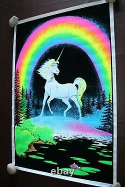 Unicorn in Paradise #939 Vintage Black Light Poster 1980 Funky Enterprises