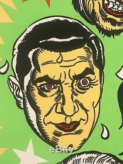 Universal Monsters Dracula Mummy Frankenstein BlackLight Art Print Poster Mondo
