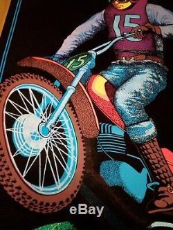VINTAGE 1970's MOTO CROSS BLACK LIGHT POSTER MOTORCYCLE DIRT BIKE ADVERTISING