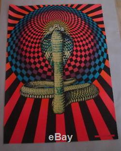 VINTAGE'70s RETRO PRO ART INC. VIVID BLACK LIGHT COBRA POSTER LOT OF 25