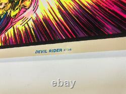 VINTAGE BLACKLIGHT POSTER Devil Rider #138 1992 AA Sales Funky Chopper Comic Nos