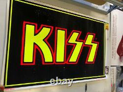VINTAGE BLACKLIGHT POSTER Kiss Logo with Glitter #813 WinterLand RockExpress'85
