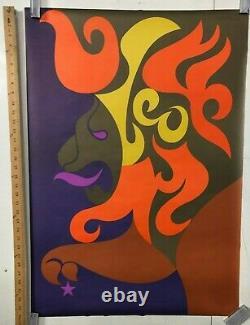 VINTAGE BLACKLIGHT POSTER Leo By Simboli Astrology Classic 1960's Rare Retro